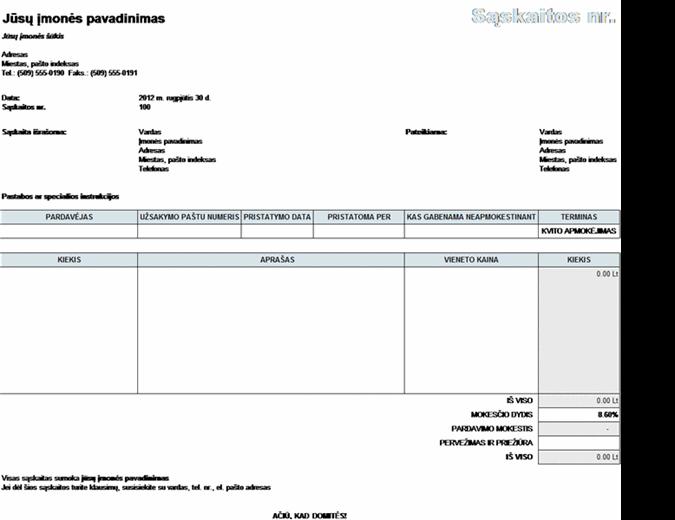 Pardavimų sąskaita faktūra su mokesčių, pristatymo ir priežiūros skaičiavimais