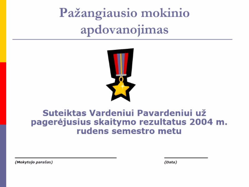 Labiausiai patobulėjusio mokinio apdovanojimas