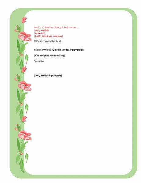 Valentino dienos laiško popierius