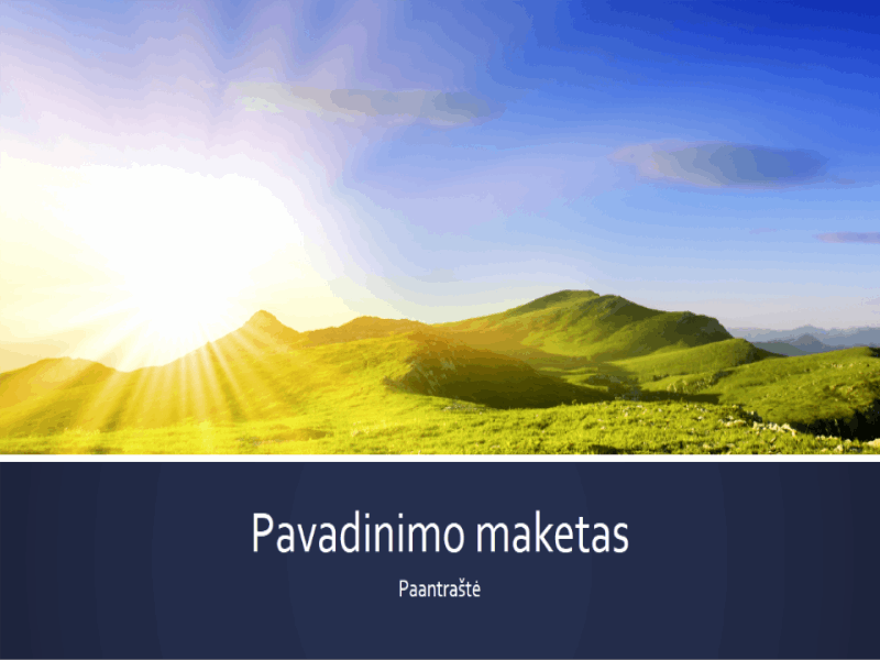 Pateiktis su mėlynomis juostomis ir kalnų saulėtekio nuotrauka (plačiaekranė)