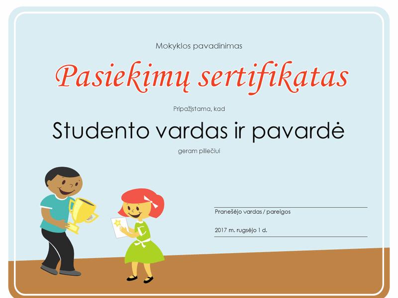 Pasiekimų sertifikatas (Pradinės mokyklos mokiniai)