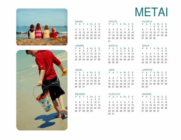 Šeimos nuotraukų kalendorius (bet kurie metai, 1 puslapis)