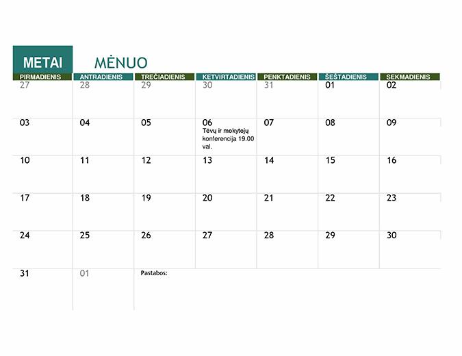 Mokslo metų kalendorius
