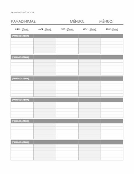 Savaitės namų darbų kalendorius