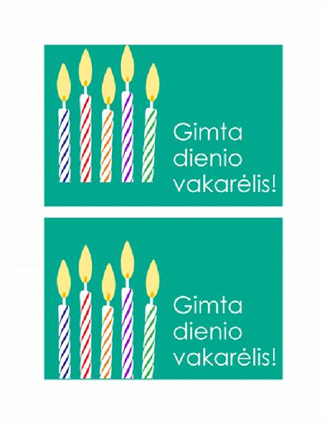 Pakvietimo į gimtadienį atvirukas