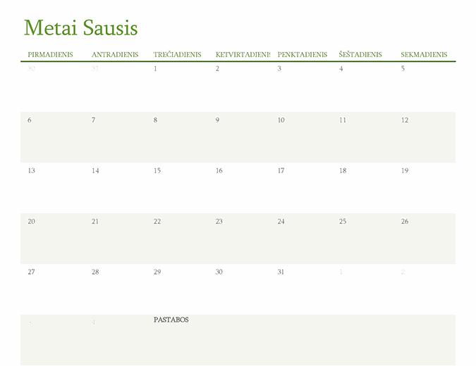 Bet kurių metų kalendorius (1 mėnuo skirtuke)