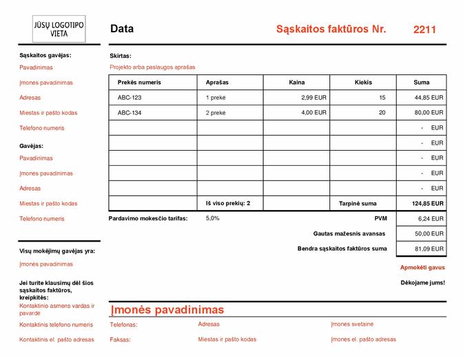 Sąskaita faktūra, apskaičiuojanti bendrąją sumą