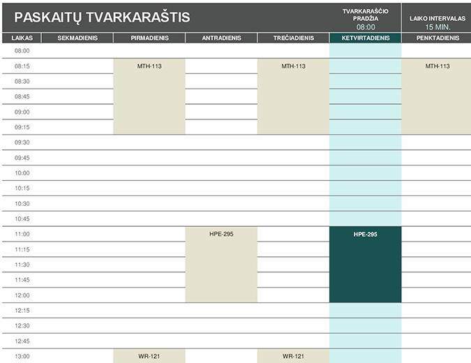 Mokinio tvarkaraštis