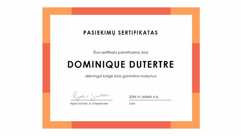 Pasiekimų sertifikatas (žydras)