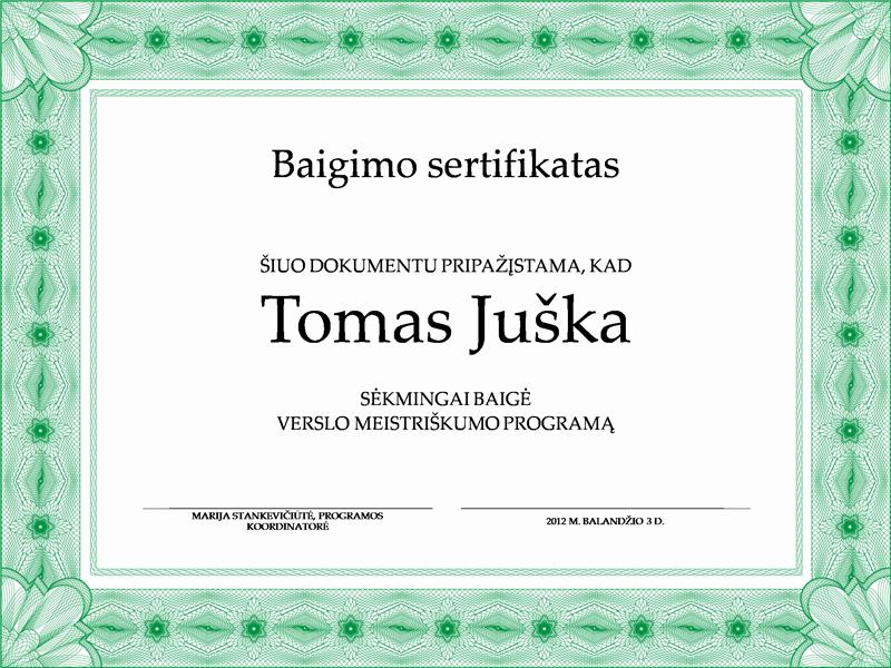Baigimo sertifikatas (žalias)