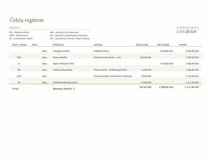 Čekių registras su operacijų kodais
