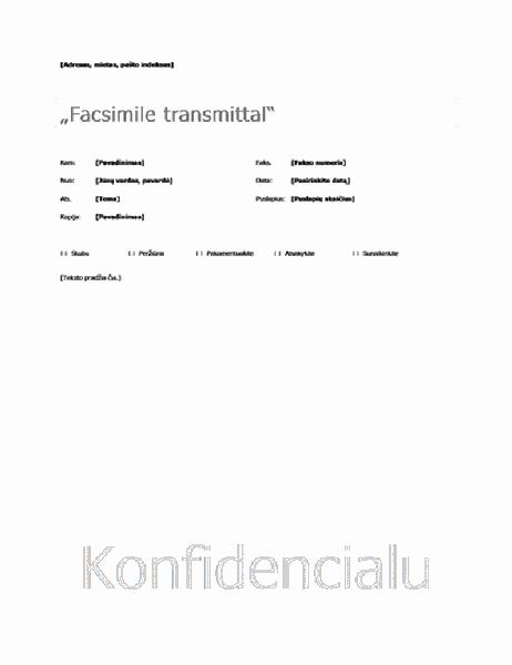 Pagrindinis faksogramos viršelis