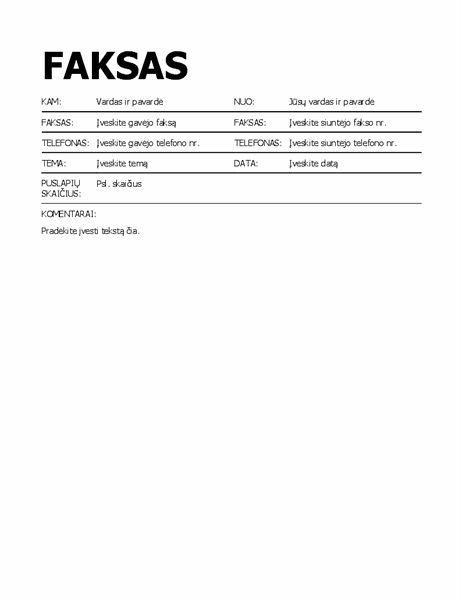 Paryškintas faksogramos viršelis