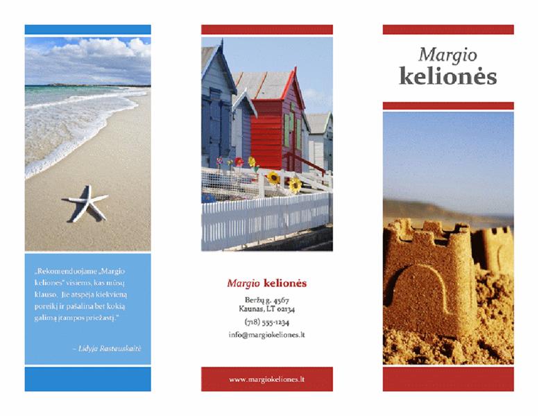 Trijų sulenkimų kelionių bukletas (raudonas, aukso spalvos ir mėlynas dizainas)