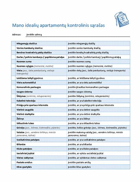 Kontrolinis sąrašas, skirtas idealių apartamentų pasirinkimui