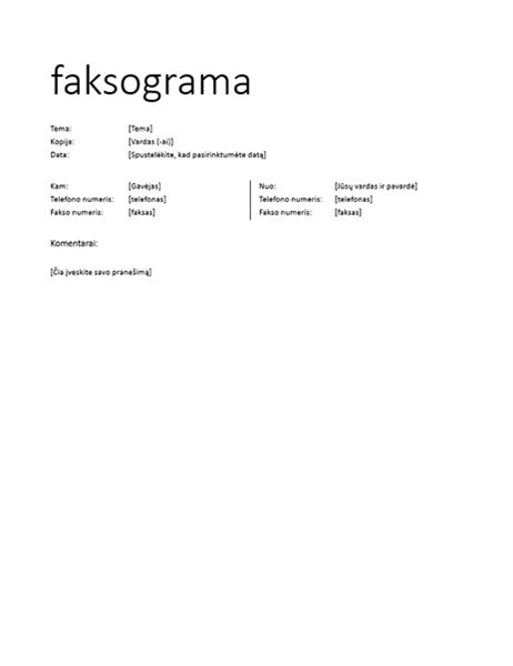 Faksogramos viršelis (neformalus)