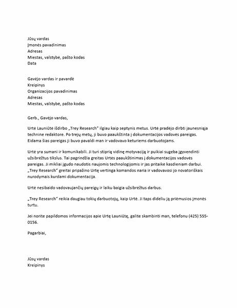 Rekomendacinis laiškas vadovaujančias pareigas einančiam darbuotojui