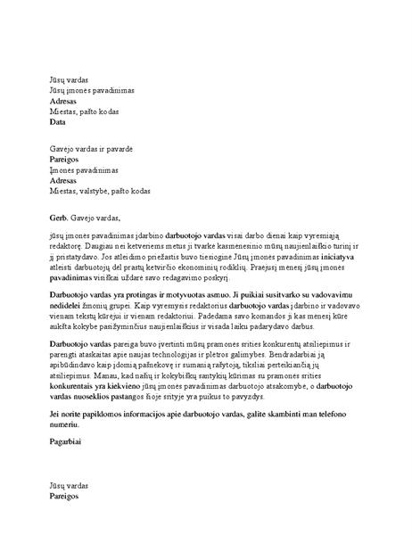 Rekomendacinis laiškas profesionaliam darbuotojui