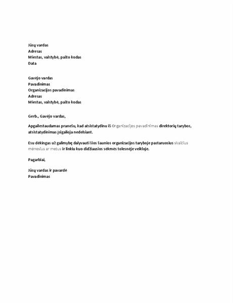 Atsistatydinimo iš tarybos laiškas