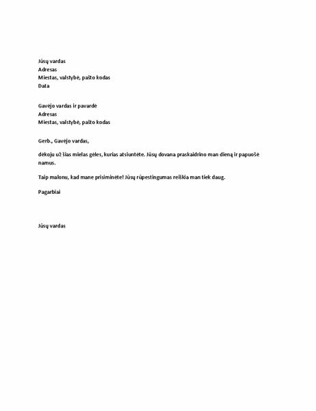 Padėkos laiškas už asmeninę dovaną
