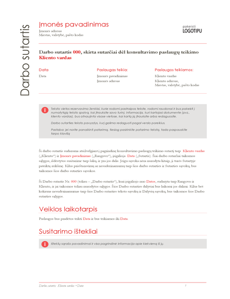 Darbo ataskaita (raudonos spalvos dizainas)