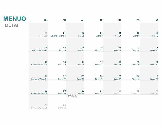 Julijaus kalendorius (bet kurių metų)