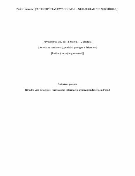 APA stilius ataskaita (6 leidimas)