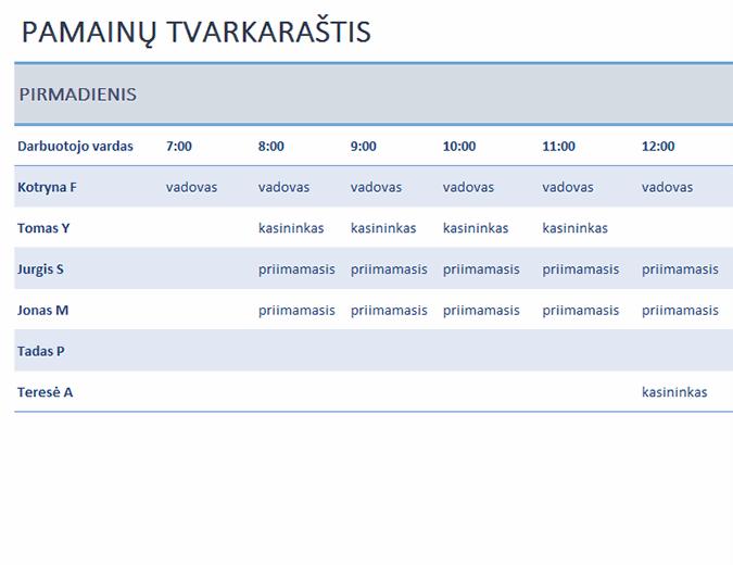 Savaitinis darbuotojų pamainų tvarkaraštis