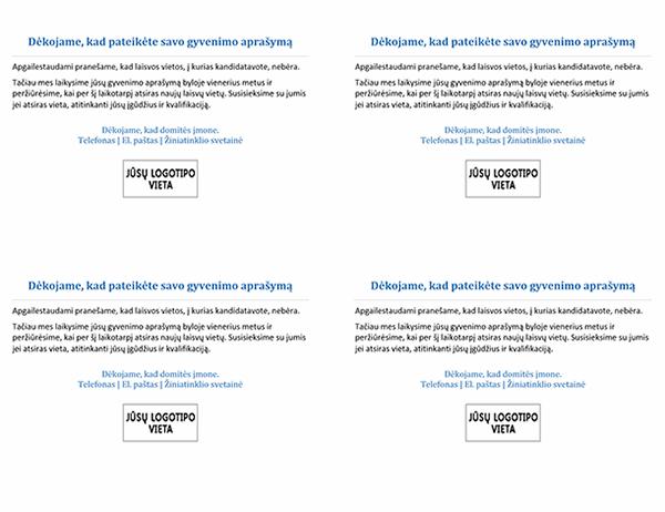 Atvirukas kandidatams, kai darbo vieta užimta (4 viename puslapyje)