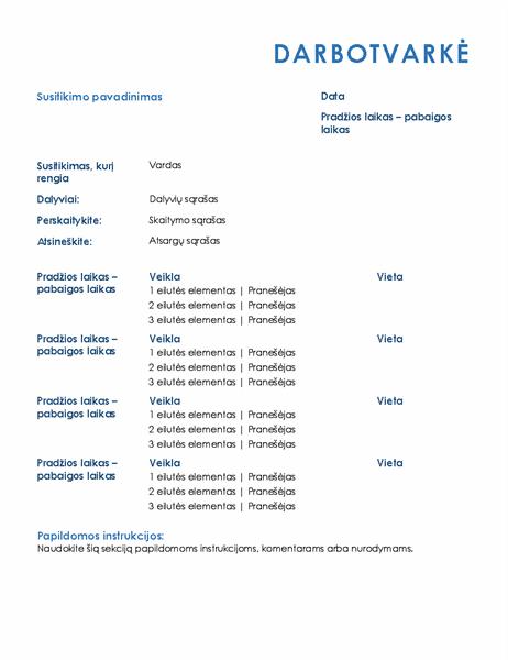 Visos dienos susitikimo darbotvarkė (oficiali)