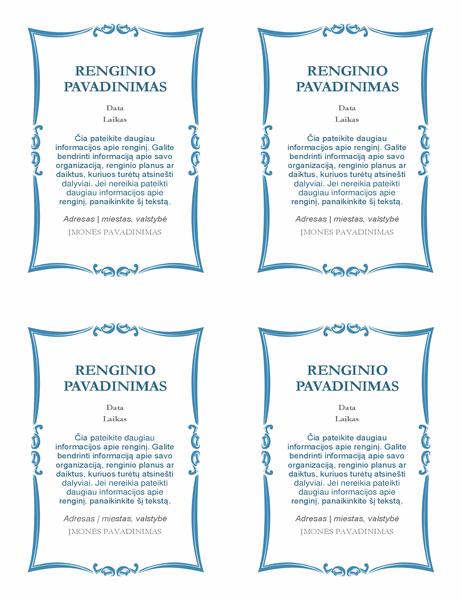 Kvietimai į renginį (4 viename puslapyje)