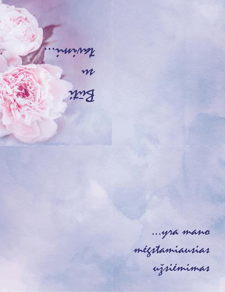Romantikos atvirukas (su rože, keturgubo sulenkimo)