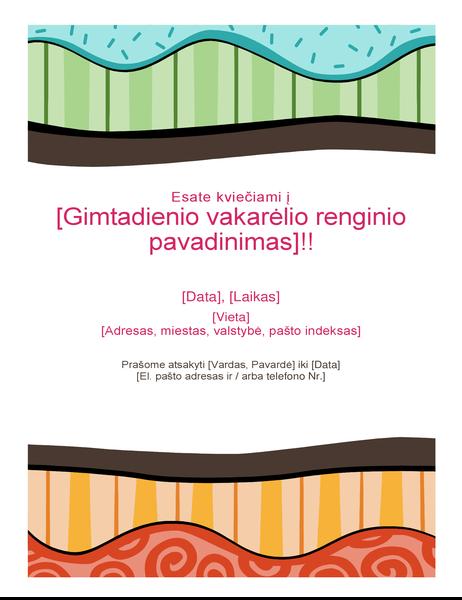 Gimtadienio skrajutė (ryškus dizainas)