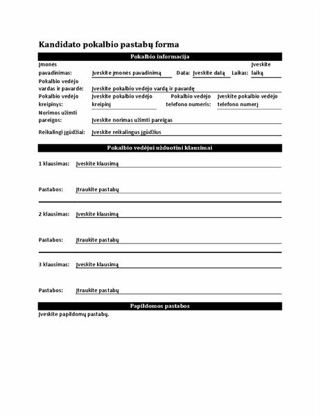 Kandidato pokalbio pastabų forma