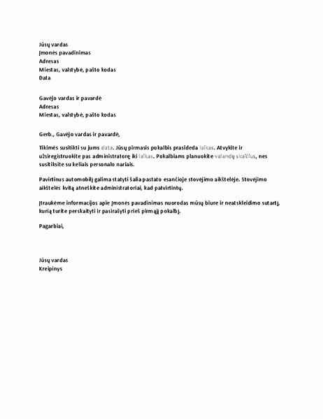 Laiškas, patvirtinantis kandidato darbo pokalbį