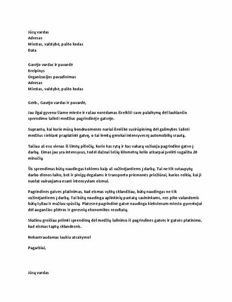 Palaikymo laiškas vietiniam biurui