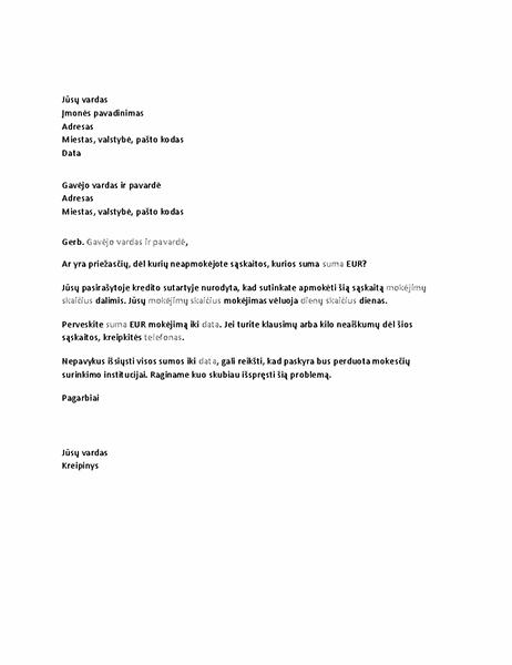 Laiškas, kuriuo prašoma apmokėti vėluojančios sąskaitą