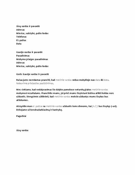 Laiškas, pranešantis švietimo įstaigai apie mokinio nedalyvavimą
