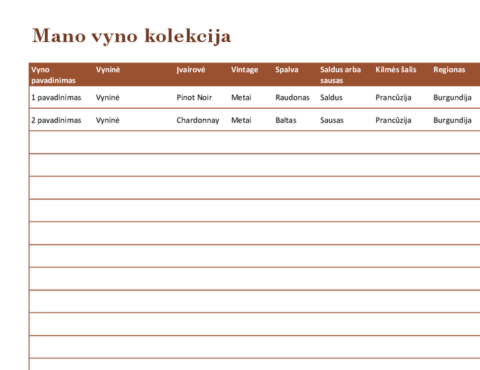 Vynų kolekcijos sąrašas