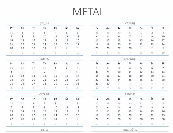Bet kurių metų kalendorius (pirmadienis–sekmadienis)