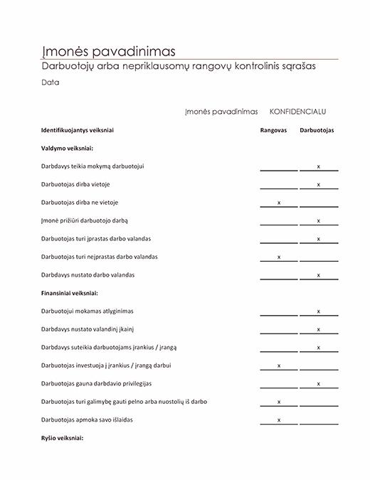 Darbuotojų arba nepriklausomų rangovų kontrolinis sąrašas