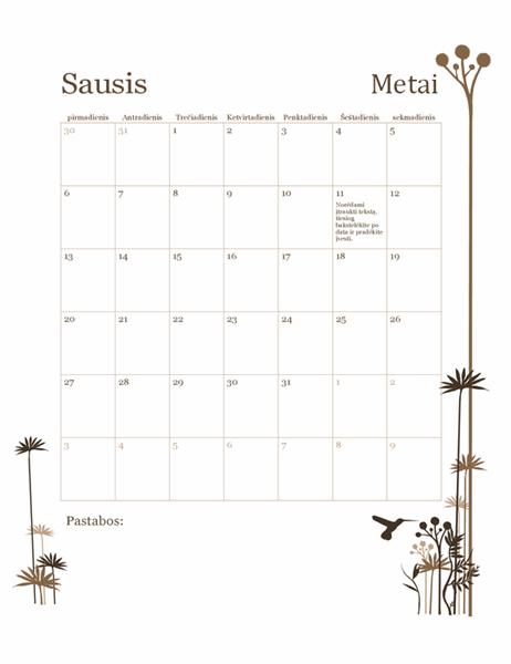 12 mėnesių kalendorius su kolibriu (pirmadienis–sekmadienis)