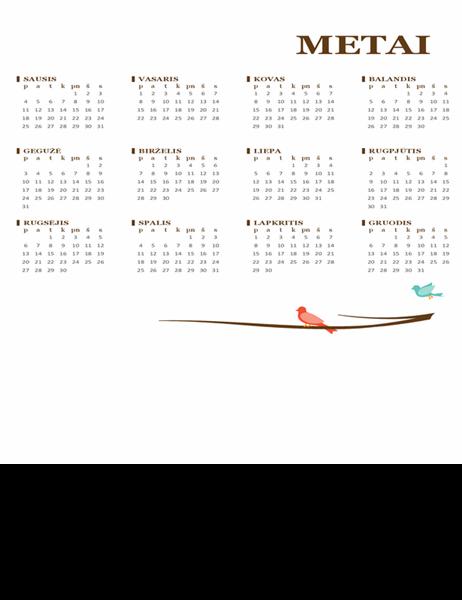 Metinis kalendorius su paukščiais (pirmadienis–sekmadienis)