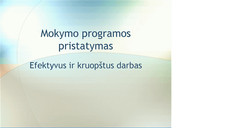 Mokymo seminaro pristatymas