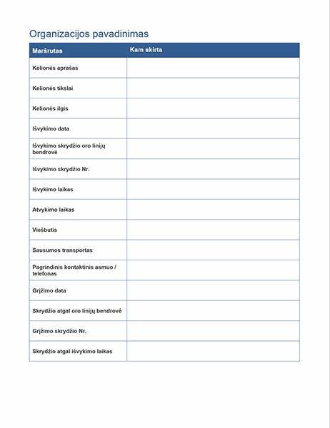 Komandiruotės maršrutas su susitikimų grafiku