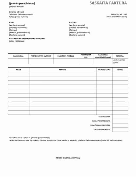 Pardavimo sąskaita faktūra