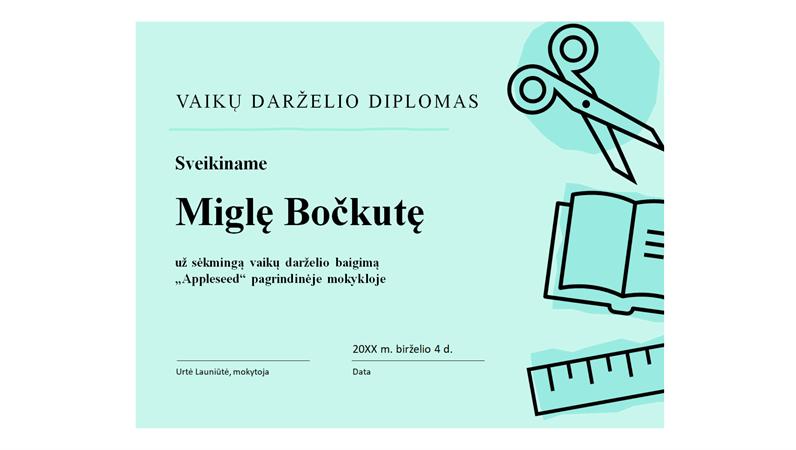 Vaikų darželio diplomo sertifikatas