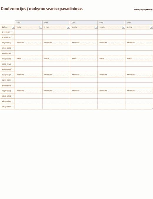 Penkių dienų įvykių tvarkaraštis