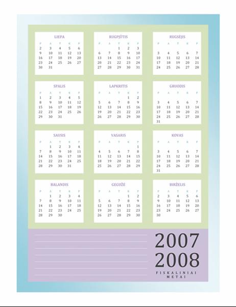 2007–2008 finansinių metų kalendorius (pirmadienis– penktadienis)