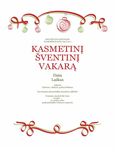 Atostogų vakarėlio kvietimas su ornamentais ir raudonu kaspinu (formalaus dizaino)